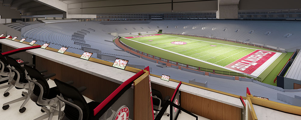 Rendering of the view of the field from Loge Boxes