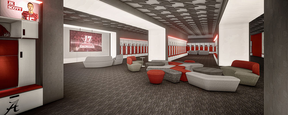 Rendering of the Locker Room inside Mal Moore Athletic Facility