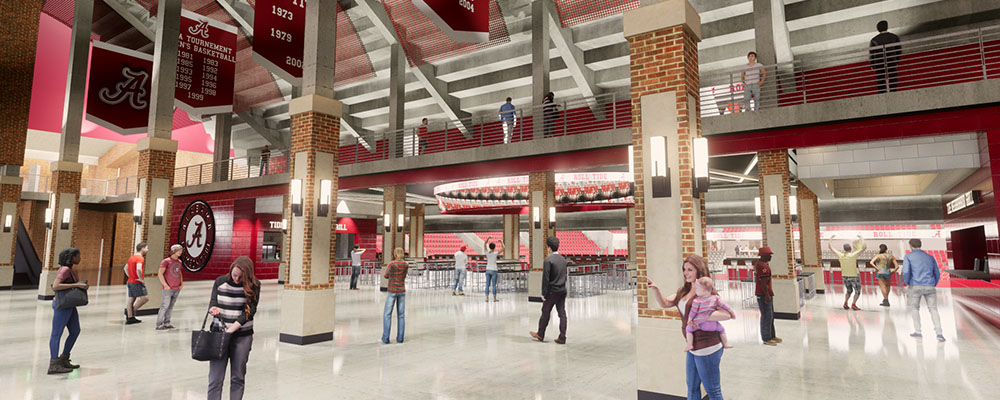 Rendering of the Coleman Coliseum lobby