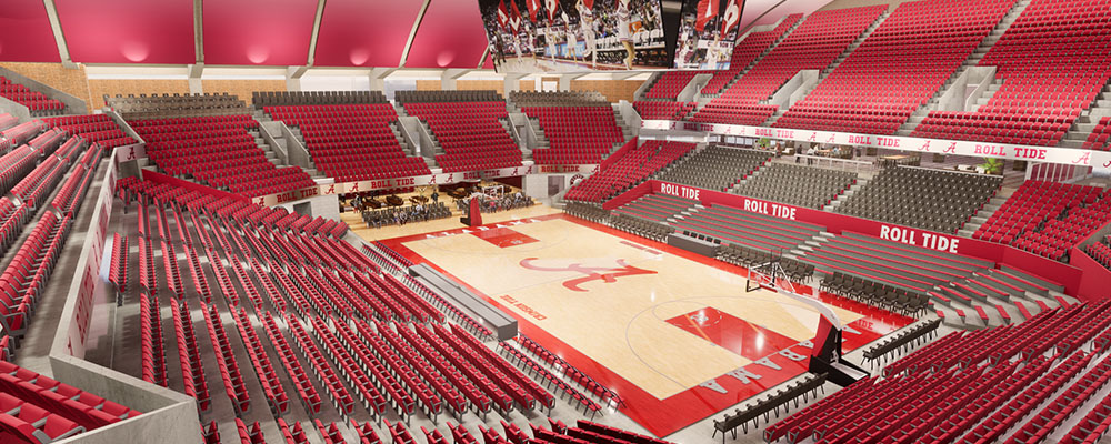 Rendering of the court inside Coleman Coliseum