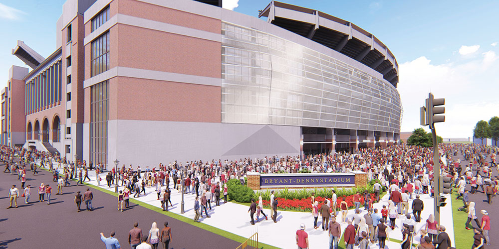 Rendering of the south side of Bryant-Denny Stadium
